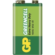 GP baterie zinko-chlorid. GREENCELL 9V/6F22/1604G ; 1-shrink