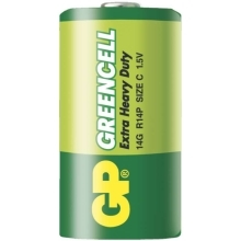 GP baterie zinko-chlorid. GREENCELL C/R14/14G ; 2-shrink
