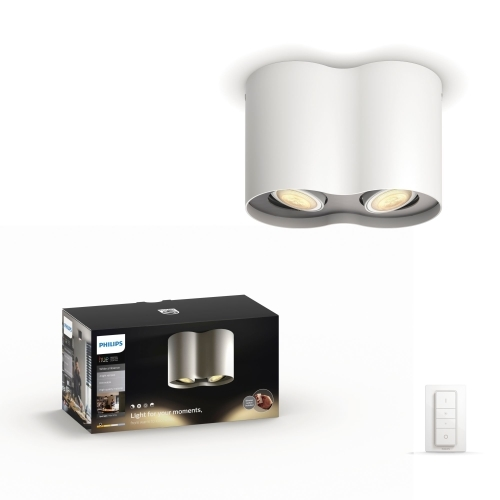 PHILIPS HUE svit.prisaz.LED Pillar 2x5.5W GU10 500lm/WH  IP20 ; bila