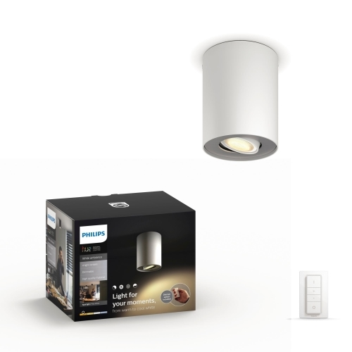 PHILIPS HUE svit.strop.LED Pillar 1x5.5W GU10 IP20 ; bílá +switch