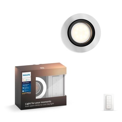 PHILIPS HUE svit.vestav.LED Milliskin 1x5.5W GU10 250lm/WH IP20 ; hlinik
