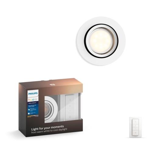 PHILIPS HUE svit.vestav.LED Milliskin 1x5.5W GU10 IP20 ; bílá +switch