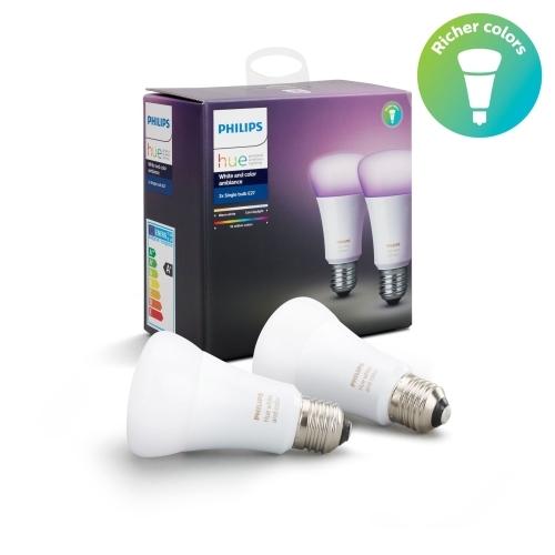 PHILIPS HUE W a C.AMBIANCE LED bulb A60 10W/60W RGB 806lm Dim set-2ks