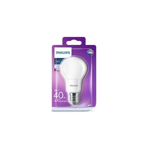 PHILIPS LED bulb A60 5W/40W E27 4000K 470lm NonDim 15Y opal BL