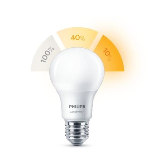 PHILIPS LED bulb SSW A60 8W/60W E27 2700/2500/2200K 806lm NonDim 15Y opal BL