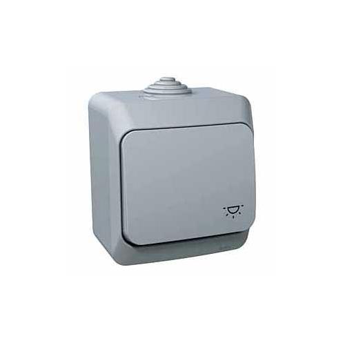 Schneider CEDAR PLUS ovladač tlac. r. 1/0  IP44 sym.svetlo sedy