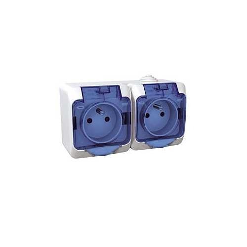 Schneider CEDAR PLUS zásuv.dvojnasobna 230V 16A 2P+PE IP44 bílá ciry kryt