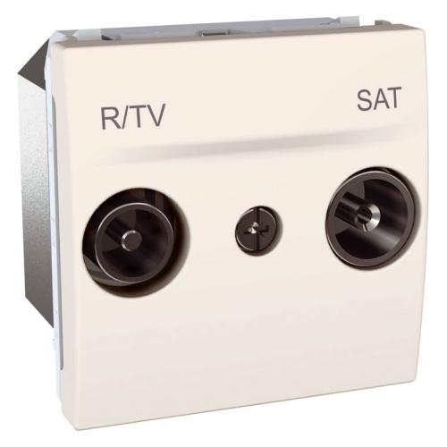 Schneider UNICA strojek 2modul zásuv.anténní TV/R-SAT MARFIL ; pruchozi