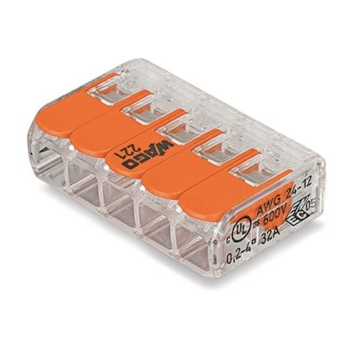WAGO svorka s packou 5x0.14-4 mm2 transp/oranz kod:221-415 ; bal.=25ks